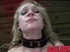 The master humiliates and violates this slave so badly that the make up is running down her face. The dominator slaps his cock against her pretty face and makes her suck on his big cock The spit drips down her chin.