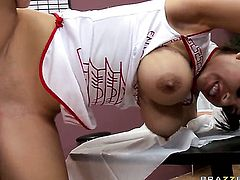Johnny Sins makes his rock hard fuck stick disappear in lovely Yurizan Beltrans mouth