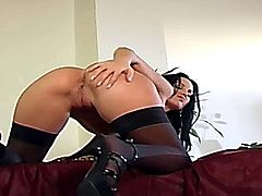 Beautiful glamour babe stripping and masturbating in stockings and panties