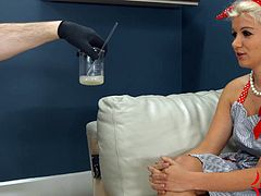 Layla serves as Dr. Mercies' office wife. He trains her to take it up the ass hard, do ass to mouth, suck his cock, ass, and feet, play with his cum. This is a nasty scene with Layla slurping up 8 loads of cum and spitting it out over and over again.