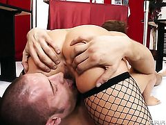 Asian Kianna Dior with massive melons gets stuffed silly by sex obsessed Danny Mountain