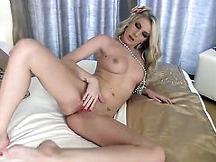 Danielle Maye with hairless muff enjoys great solo session