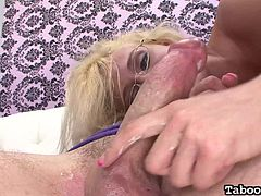 Cute babe Jc grinds her ass against her man's crotch, to get him nice and horny. Before long, she pulls his cock out and starts to tug him off really fast. she loves to give handjobs. He rubs her butt, while she jacks him off.