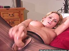 This lovely lady is chilling on the bed with her legs open. She is playing with her big dildo. Watch, as she slides it deep in her cunt. She knows you are getting turned on and she wants to see you masturbate, too. This is the hottest mutual masturbation experience for the both of you.