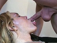 Take a look at this hot bitch. Carla lays back on the bed, while her man shoves his cock into her mouth and she sucks on his balls. The tranny rubs her own cock, while pleasing her man. Watch as he tugs himself off, while she eats his asshole out. She gives excellent rimjobs!