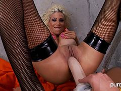 Big booty lesbian in fishnet stocking getting her anal fingered before enjoying being smashed hardcore using huge strapon