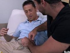 Very sexy brunette married guy Ari Sylvio gets cock sucked and ass fucked