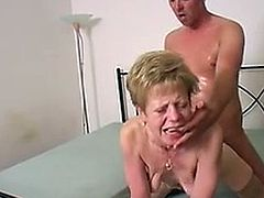 Mature skinny Belle fucks and sucks with her young lover