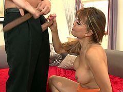 They say, that transsexuals give the best blowjobs and Johanna is doing her best to prove, that sentiment right. The blonde tranny gets down on her knees and starts to suck off her man. Of course, he is going to give her a blowjob too. She even sucks on his cum-filled balls.