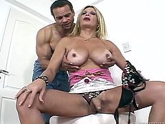 Mikaela was alone in the room and playing with her penis, when her man walked in, and caught her jacking off. He offer to help her out and he tugs on her big cock, and gives the sexy shemale a blowjob.