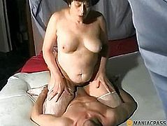 Woman in stockings sat on his cock