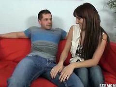 Horny older step mom Stacy was given a chance by these kinky Stacy and her big dick boyfriend as they let her hold his cock and jerk and suck him til he explodes.