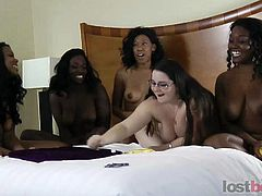 Four hot ebony chicks and a lone chubby white playing a naughty Estonian roulette as the loser will get ganged up by them by toying their cunt or kissing their goodies.