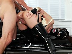 Dana likes being fucked in more unusual ways, such as when she's wearing a mask on her face and long high heeled boots. The sluty milf has lovely tits, which can be observed more clearly, when she gets down on her knees, to suck her partner's horny cock. Her ass looks even better with milk enema! Click to see.