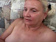 Threesome furious pussy pounding session on the couch as these horny father and son fuckers drill whore grandma endlessly.