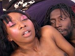 Sexy ebony slut get her hairy pussy and ass pounded hard by a massive black dick.