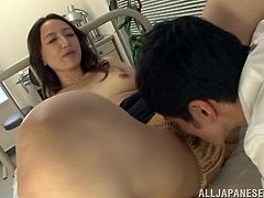 Amorous Asian brunette with natural tits getting he pussy licked then delivers a spicy blowjob before getting thrashed hardcore doggy style