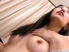 This sexy Japanese milf shows, how well she knows, how to suck on a throbbing cock. She looks super cute in her leather boots and lingerie, so then she in on her knees, and giving an amazing, wet blowjob to her man.