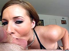 Brunette slut makes deepthroat to her boyfriend