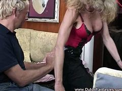 This busty mature bitch from Holland takes a man of her age inside her yacht cabin where she takes his meaty cock inside every available hole that she has.