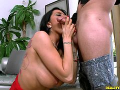 Delightful brunette in stocking moaning while her pussy is licked in reality shoot