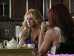 Farrah Dahl and Janet Mason are two amazing milfs who were chatting over a cup of coffee when a stud interrupted them and they couldn't resits him. They rode his big dick.