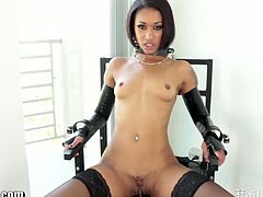 Extreme ebony chick with tiny tits and juicy cunt is wearing her usual getup and here she started playing and hurting itself with some of her collection of her extreme toys right on her pussy.