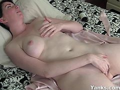 Yanks brings you very intense free porn video where you can see how this naughty brunette amateur milf fingers her sweet pink cunt for you while assuming some very naughty positions.