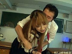 Have you ever had lusty fantasies with Asian schoolgirls? Click to see an attractive young lady dressed in uniform with a sexy skirt. The classroom is empty and it's the right time for some extra activities. Enjoy the sight of Tia's fresh pussy after her panties are removed by a horny school mate.