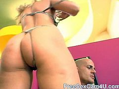 Amazing blonde beauty Lauren Phoenix sucks on a huge dick after teasing us with her gorgeous body and great round ass