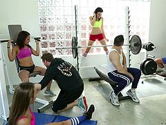 Working out at the local gym gets these couples really horny. They take a break from cardio and weightlifting to get nasty with each other. One slut in on her knees sucking cock, and the other is taking dick hard from behind.