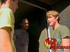 Anthony Evans and Jasper Robinson meet Parker Wright at his place. Parker gives them both a blowjob and then Jasper teams up with Parker to spit-roast Anthony.