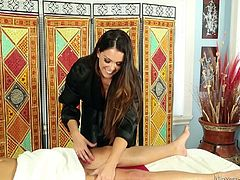 This lucky guy is in for a treat on the massage table today. He thinks he is just going to get a rubdown, but the masseuse soon takes off her robe to reveal sexy lingerie. Then she gets completely naked and tugs and sucks his dong.