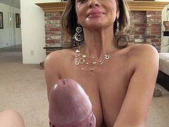 MILF in miniskirt gives BJ and handjob in POV to stud with big dick