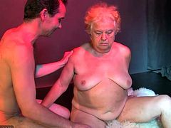 Old chubby granny have sex with young guy