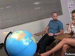 Ever fantasized about fucking a busty sexy teacher? The brunette milf gets undressed and persuades a blonde-haired student with small tits, into undressing. The slutty babe sits on the desk and begins to finger herself. See the crazy teacher Angelina getting down on knees, to suck cock, or performing a tit job.