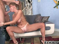 Sizzling porn star with big fake tits enjoying a hardcore anal fuck