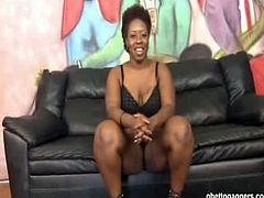 Chubby black gager Ms Marshae takes a white cock