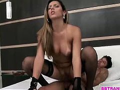 Shemale beauty is with her stud in the hotel and they started their love making session and progresses as they started getting rough ending her receiving a nasty anal creampie.