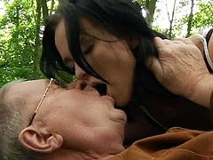 Peaceful picnic is something on her old man's plan but her young fuck buddy got something else on her mind like getting naked and starts having sex in the forest.