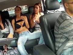 Lane sisters invited Roxy Lane to try blowing their fuck buddy. The results are awesome and a man's fantasy as three gorgeous girls right in front of your dick sucking it.