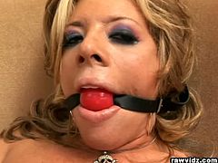Nasty blonde Tamra Toren bitch gets gagged and fucked by a perverse black stud. See the vicious blonde babe wearing fishnet and enjoying sucking one big black cock. Her ass gets banged into heaven. Watch this slut moaning and screaming in pain and pleasure while the big black rod keeps pumping her ass. Enjoy!
