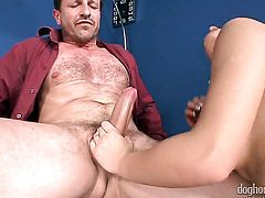 Honey Demon warms George Uhl up before dick sucking after she gets cornholded