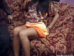 Catita is a sexy Indian slutty babe, with mysterious eyes and beautiful warm smile. She feels good in front of the camera and exposes her small tits, and wet cunt, when requested. Click to see her bending over the couch, with her appeztizing ass nude. Watch the bitch sucking cock with passion!