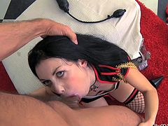 Brunette pornstar in lingerie, stockings and high heels enjoys asslicking and hardcore anal play with toys before fucking and getting cum in mouth