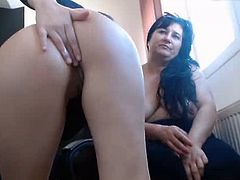 Old hag with young girl eating pussy and fingers in ass