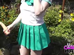 This naughty transfer student in Japan has skipped class, and now is enjoying the sunshine outside! In her naughty Japanese uniform Jensen cannot contain herself and has to play with herself outside in the bushes.
