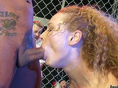 Who will be the ultimate fighter today? Will it be one of these UFC champs, or will it perhaps be the lovely Audrey, who is on her knees and sucking men off in a cage match? She even puts two cocks in her mouth at once.