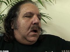 Slutty Cece Stone is up the ladder and no panties! Ron Jeremy checks her pussy and wants more then just a look!