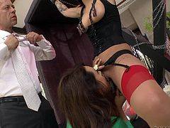 These nasty girls have to do exactly as Rocco says, because he is the master. One of the beautiful ladies is tied up, with her nipples and tongue clamped. She gets clothespins all over her cunt and, when she is released, she has to suck cock with her friend. They're sucking dick with clothespins on their lips!